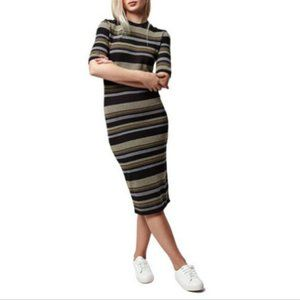 Topshop Striped Bodycon Midi Dress Size 6 Stretch